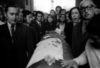 Mourners gather at the burial of Pablo Neruda