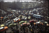 On the day of the Shah's departure, Tehran streets were clogged with well-wishing traffic.