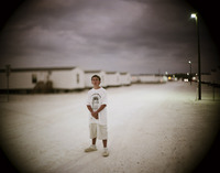 Cory Arsenault, living in a FEMA park after Hurricane Charley