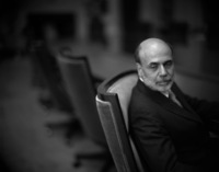 Former FED Chairman Ben Bernanke, in his conference room