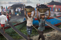 Unloading the barges, Bangladesh