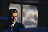 Ronald Reagan on a campaign bus: NH