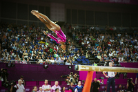 Gabbie Douglas on dismount from the beam