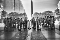 "Vietnam War vets, and other friends, scrubbing and washing ""the Wall"""
