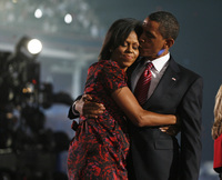 The Obamas on convention victory night